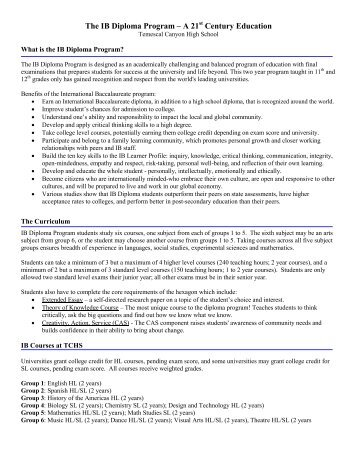 The IB Diploma Program - Temescal Canyon High School