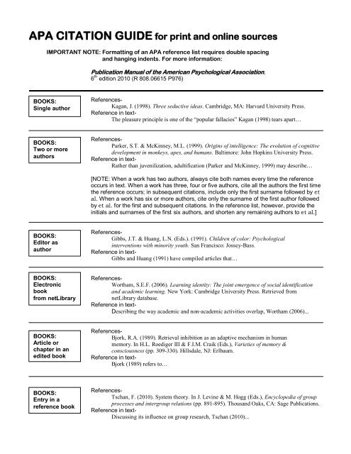Apa Citation Guide For Print And Online Sources Procon Org