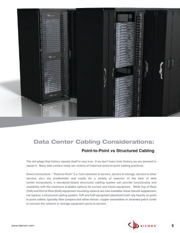 Data Center Cabling Considerations: - Siemon