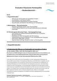 Evaluation Klassische Homöopathie – Studienübersicht –