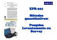 EPR-201 Métodos quantitativos: Pesquisa Levantamento ou Survey