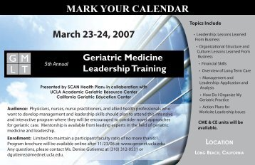 March 23-24, 2007 G M L T MARK YOUR ... - GeroNet - UCLA