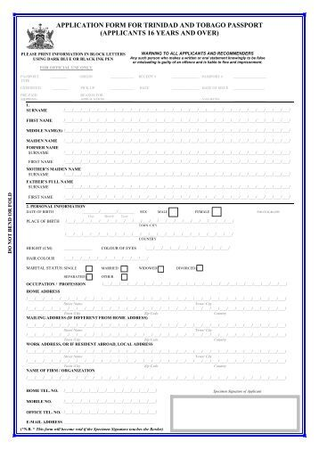 machine readable passport application form