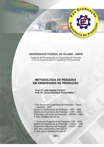 METODOLOGIA DE PESQUISA EM ENGENHARIA DE PRODUÇÃO