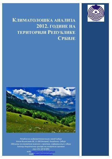 климатолошка анализа 2012. године на територији републике ...