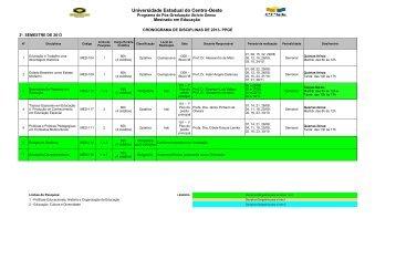 CRONOGRAMA DE DISCIPLINAS DE 2013- PPGE - Universidade ...