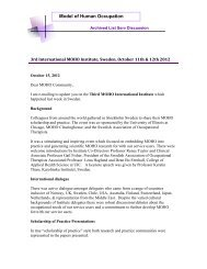 3rd International MOHO Institute, Sweden, October 11th and 12th ...