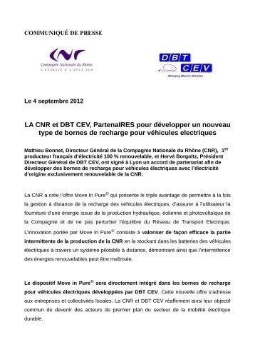 LA CNR et DBT CEV, PartenaIRES pour développer un nouveau ...