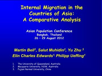 Internal migration in the countries of Asia - University of Queensland