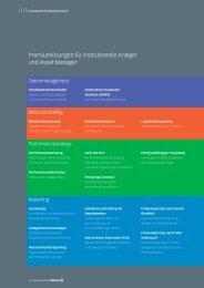 Premiumlösungen für institutionelle Anleger und Asset Manager.