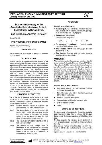 PROLACTIN ENZYME IMMUNOASSAY TEST KIT Enzyme ... - Linear