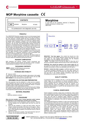 MOP Morphine cassette Morphine - LINEAR CHEMICALS