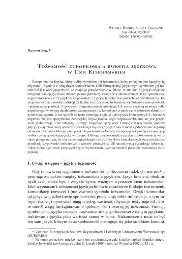 Tożsamość europejska a kwestia językowa w Unii Europejskiej