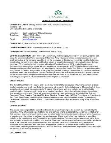 MSCI 3101 - UNC Charlotte Army ROTC - University of North ...