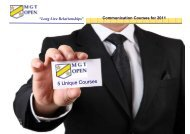 Communication Courses for 2011 - MGT OPEN