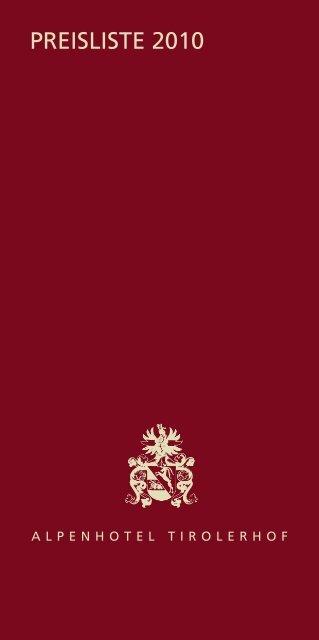 Preisliste 2010 - Alpenhotel Tirolerhof