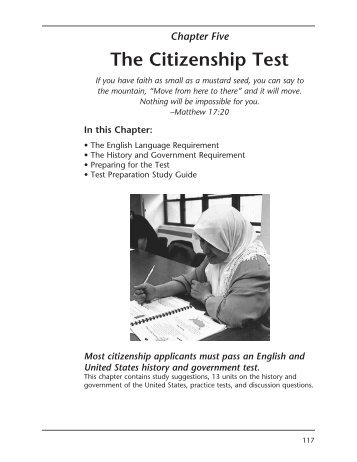 CHAPTER FIVE: The Citizenship Test Study Guide