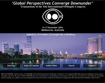 Transactions from the Xth International Orthoptics Congress 2004