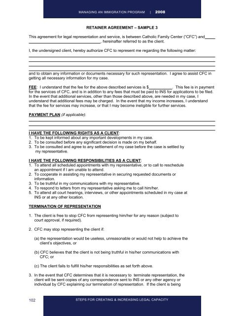 102 Retainer Agreement Sample 3 This Agreement For Legal