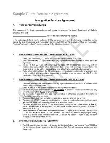 Attachment Client Retainer Agreement- Sample 2