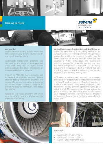 Brochure training services - Sabena technics