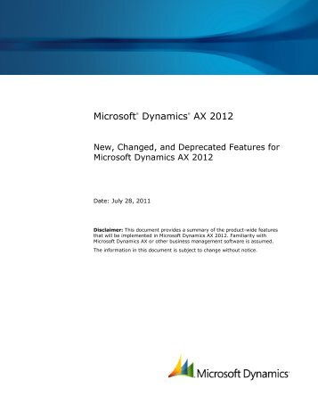 New, Changed, and Deprecated Features for Microsoft Dynamics ...
