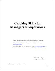 Coaching Skills for Managers & Supervisors - KAW Consulting