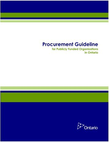 Procurement Guideline for Publicly Funded Organizations in Ontario