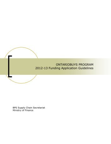 ONTARIOBUYS PROGRAM 2012-13 Funding Application Guidelines
