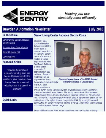 Brayden Automation Newsletter July 2010 - Energy Sentry