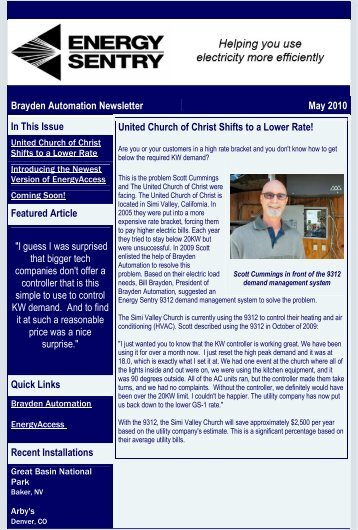 Brayden Automation Newsletter May 2010 In This ... - Energy Sentry