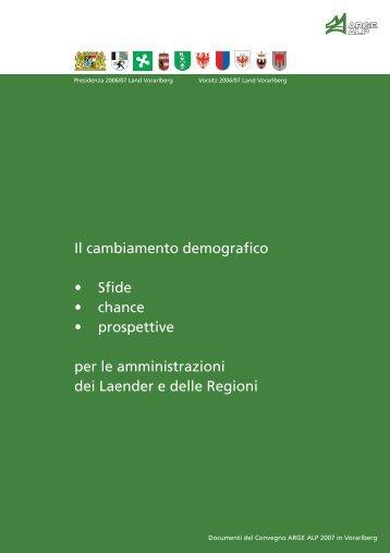 Il cambiamento demografico - Conferenza dei Capi di Governo di ...