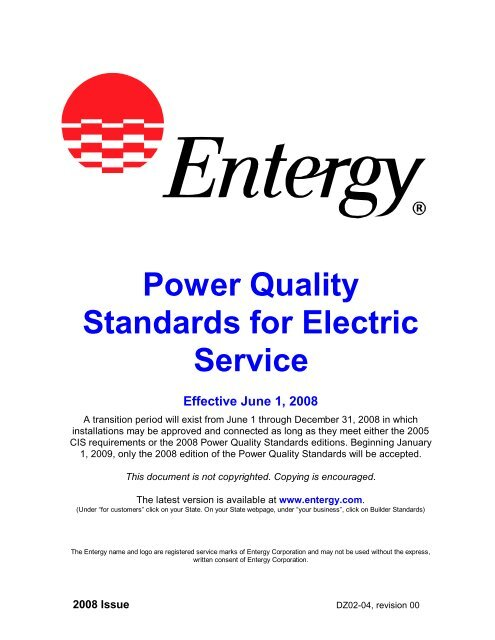 Power Quality Standards For Electric Service Entergy New Orleans