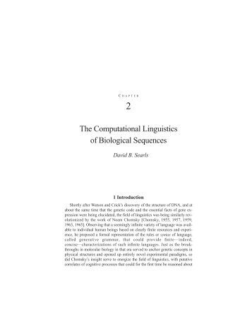 The Computational Linguistics of Biological Sequences
