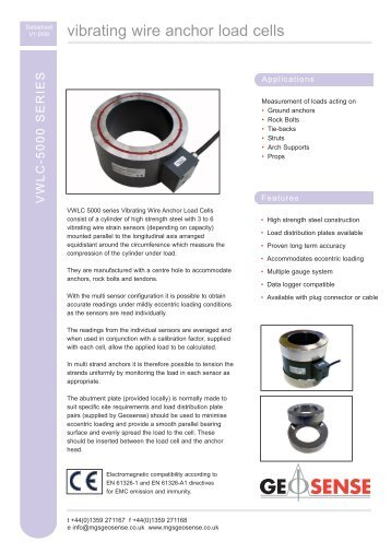 vibrating wire anchor load cells - MGS Europe GmbH