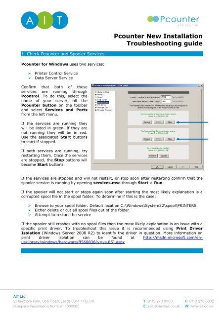 Pcounter New Installation Troubleshooting guide - AIT Ltd