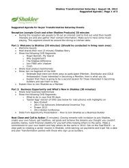 Reception (sample Cinch and other Shaklee Products) 30 minutes