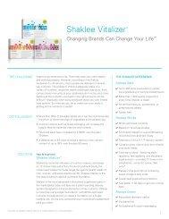 Vitalizer™ Talk Sheet - Shaklee