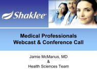 Medical Professionals Webcast & Conference Call - Shaklee