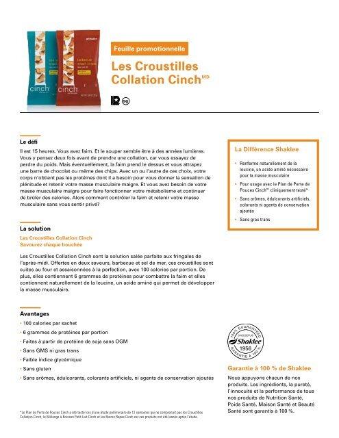 Les Croustilles Collation CinchMD - Shaklee