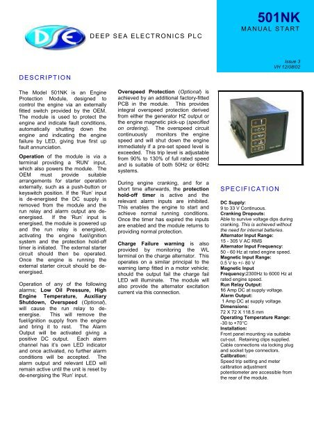 deep sea electronics plc manual start description specification