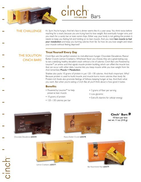 The Challenge The SOlUTIOn CInCh barS - Shaklee