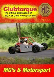 April front cover - MG Car Club Newcastle