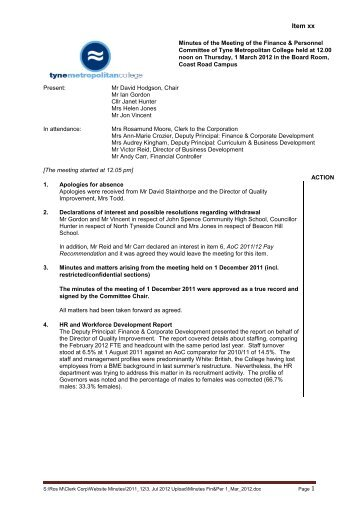 For Governors Meeting Minutes  Tyne Metropolitan College