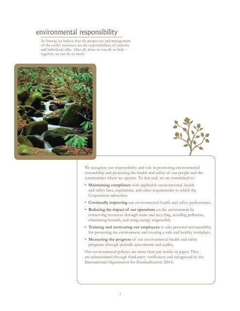 environmental stewardship - Amway