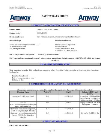 Legacy Of Clean Glass Cleaner Msds Amway