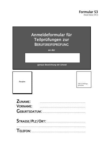 Anmeldeformular zur Teilprüfung - HAK/HAS Traun