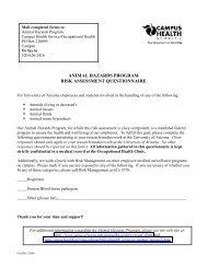 animal hazards program risk assessment ... - Campus Health