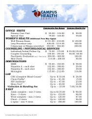 Current Fee Schedule - Campus Health
