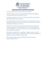 The University Of Arizona Sports Medicine Abdominal Rehab Handout